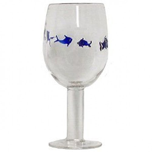 Blown Glass Goblets (Hand Blown Blue Fish Goblet Glass, Set of 4 - 16oz -)