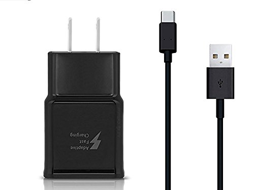 Type C Adaptive Fast Charger (AFC) for Samsung Galaxy S9,S9 Plus, S8, S8 Plus, Note 8 Fast Wall Plug w USB-C Cable-Black - Includes convenient Travel Pouch by Cellvare