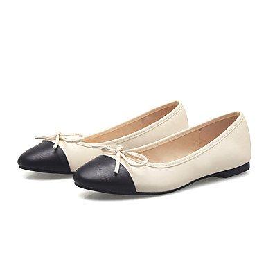 Cómodo y elegante soporte de zapatos de las mujeres pisos de primavera/verano/otoño/invierno comodidad/punta redonda/cerrado Toe Casual talón plano lazo negro/almendra Almond