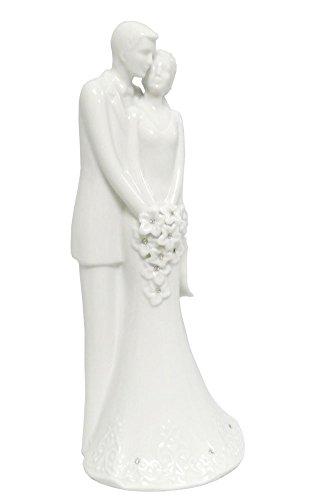 Love is in Bloom 8 inch Porcelain White Wedding Bride Groom Cake Topper