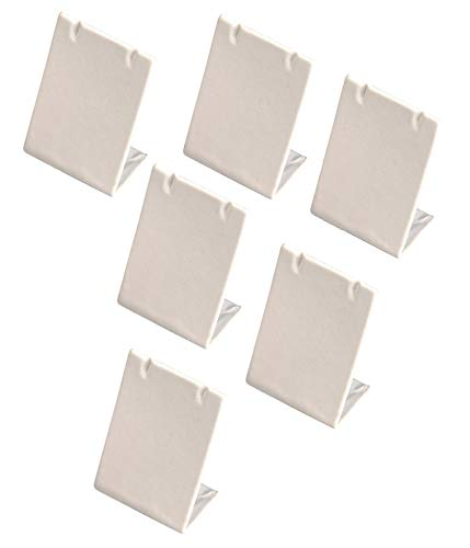 6 Pieces White Leatherette Leaning Earring Stands/Jewelry Displays 3.5 Inches Tall (White Leatherette, 6)