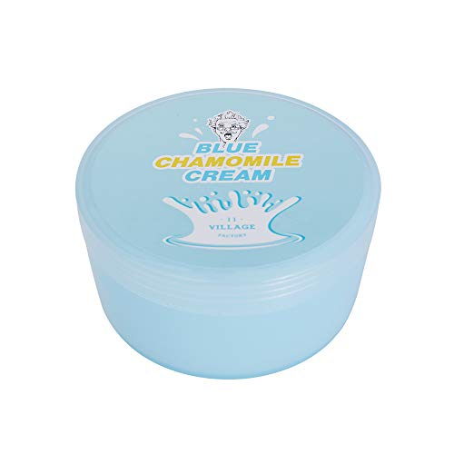 Village 11 Factory Blue Chamomile Calming Cream, Body and Face Moisturizer for Softer Smoother Skin, 10.14 fl oz