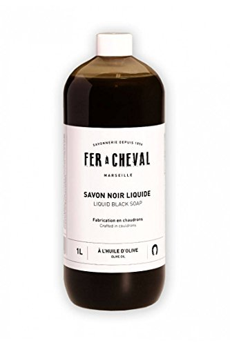 FER À CHEVAL - Marseille Soap Liquid Black - Multifunctional detergent - Cleans - Removes grease and shines - With olive oil - Without preservatives. - 1 lt