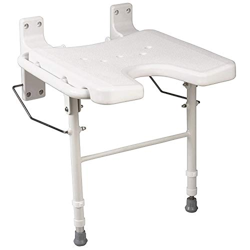 HealthSmart Wall Mount Fold Away Bath Chair Shower Seat Bench with Adjustable Legs, Seat 16 x 16 Inches, White