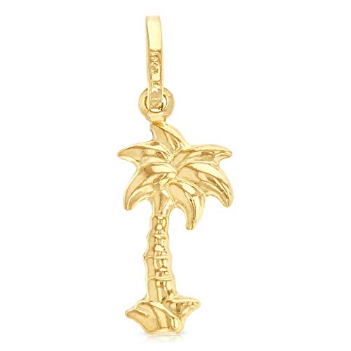 - Ioka - 14K Yellow Gold Palm Tree Charm Pendant For Necklace or Chain
