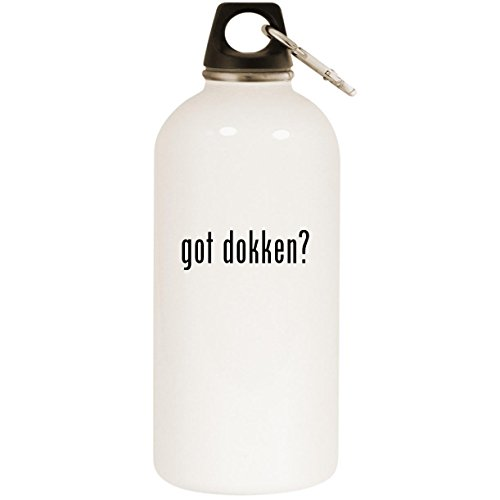 Molandra Products got Dokken? - White 20oz Stainless Steel Water Bottle with Carabiner
