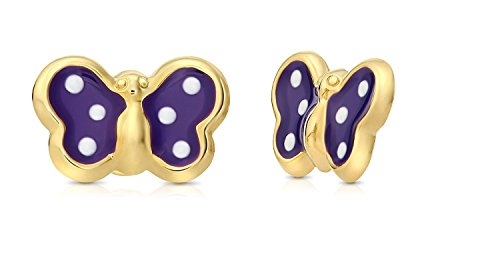 14k Yellow Gold Purple Enamel Butterfly Stud Earrings with Post and Friction Backings