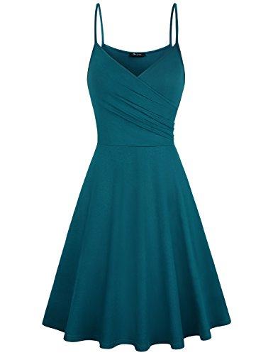 Quinee Womens Dress, Homecoming Ladies Summer for Sunflower Floral Print Beach Sundress Cotton V Neck Wrap Tie Waist Maxi Blue ()