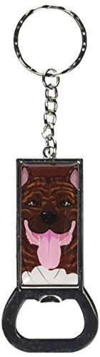 (Graphics and More Bottlecap Opener Key Chain, Pit Bull Full Face Brindle - Pitbull American Staffordshire Terrier Dog Pet (KK7303))