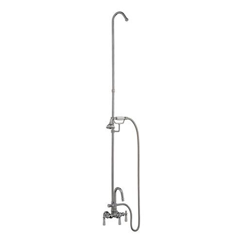 Barclay 4023-PL-CP Gooseneck Tub Filler with Diverter and Hand Shower for Cast Iron - Victorian Tub Spout Wall