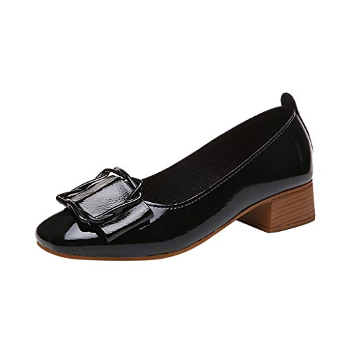 Sunhusing Ladies Solid Color Round Head Shallow Mouth Square Heel Casual Shoes Buckle Decor Ankle Shoes Black ()