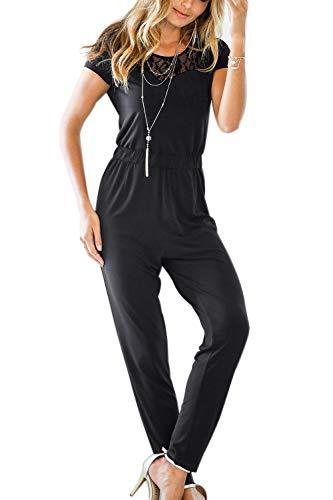 特徴づける剥ぎ取る爬虫類女性ジャンプスーツ固体レースシアーキーホール半袖デイリーロンパー