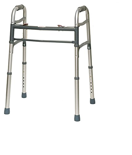 - HEALTHLINE Walker Folding Deluxe 2 Button Without Wheels, Lightweight Foldable Mobility Walker No Wheels for Adult Seniors Disabled, Adjustable Height for Short, Average and Tall People