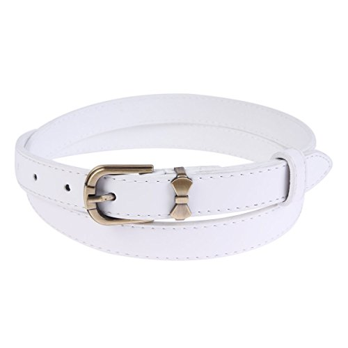 Damara Womens Skinny Metal Buckle Bow PU Belt,White