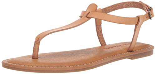 (Amazon Essentials Women's Casual Thong with Ankle Strap Sandal, Natural, 7 B US)