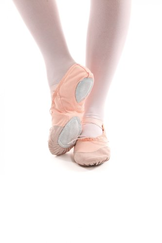and leather Pink pink white sole apricot apricot with reinforcements Canvas split slippers ballet twFzTz