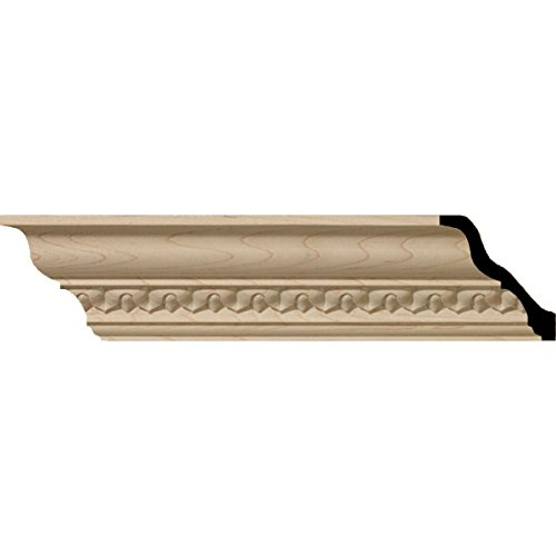 Ekena Millwork MLD03X03X05LAAL 3 5/8-Inch H x 3 1/2-Inch P x 5-Inch F x 96-Inch L Lanarkshire Carved Wood Crown Moulding, Alder
