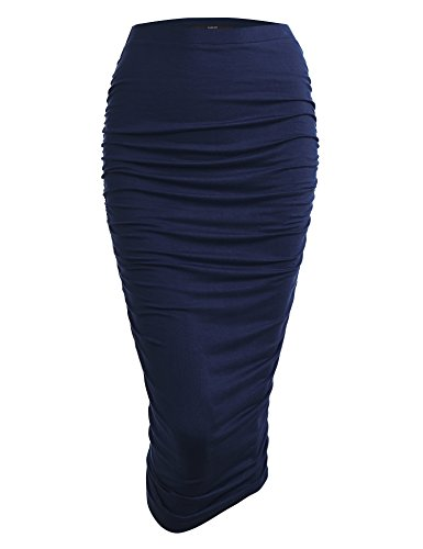 Made By Johnny WB1147 Womens Elegant High Waist Pencil Skirt with Side Shirring XXL Navy ()