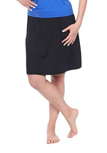 Kosher Casual Women's Modest Knee-Length Swim & Sport Skirt with Built-in Shorts - Skort Style 3XL Black ()