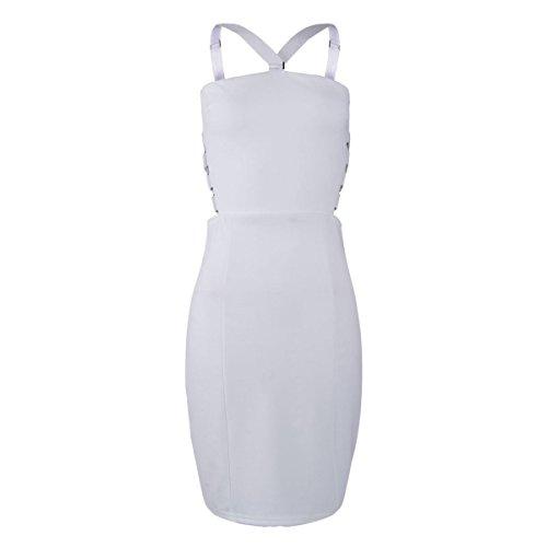 ENVY BOUTIQUE para mujer SUMMER celebridad acanalada BODYCON con el texto en inglés para vestido de mujer D ajustados de anilla de correa para blanco