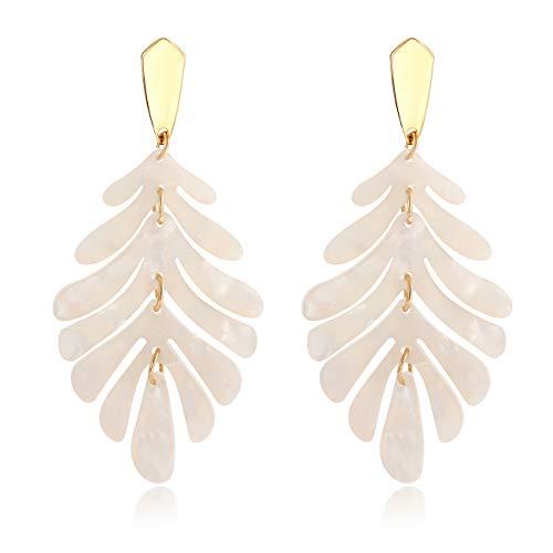 (Acrylic Earring for Women - Statement Leaf Drop Dangle Earrings Resin Tortoise Earrings Bohemian Floral Metal Stud Fashihain Tortoise Resin Palm Leaf Fashion Necklaces for Women Girls (white+earrings))