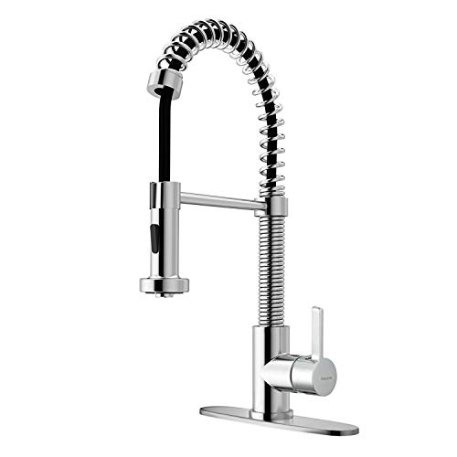 Chrome Commercial Single Handle - Commercial Kitchen Sink Faucet with Pull Down Sprayer, Single Handle High Arc Pull Out Spring Chrome Kitchen Faucet, 1 or 3 hole Single lever Deck Mounted, cUPC Certification