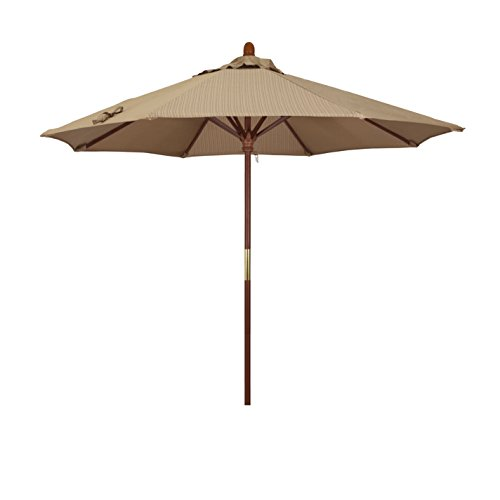 California Umbrella 9' Round Hardwood Frame Market Umbrella, Stainless Steel Hardware, Push Open, Terrace Sequoia Olefin