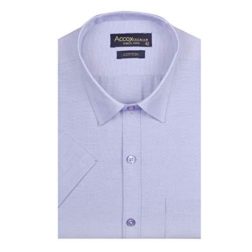 ACCOX Men's Half Sleeves Formal Regular Fit Cotton Plain Shirt(GO540)