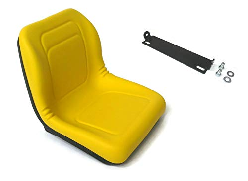The ROP Shop Yellow High Back Seat with Pivot Rod Bracket for John Deere 445, 455, G100, SST16, ()