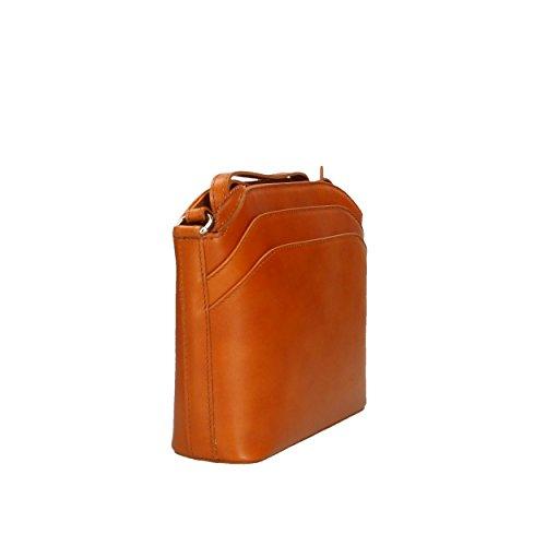 in Cuero Aren de Piel de Bolso 22x19x7 Hombro Cm Italy genuina Made Bag Mujer Shoulder para fqPWfZT
