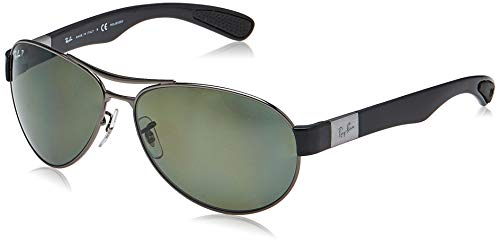 Ray-Ban RB3509 Aviator Sunglasses, Gunmetal/Polarized Green, 63 mm (Ray Ban Aviator Green Polarized)