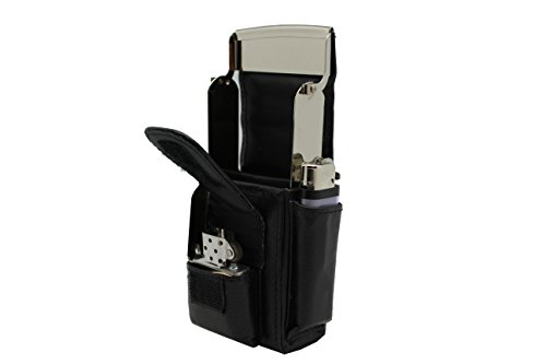 Black Biker Cow Leather Cigarette Case,Zippo lighter Holder Belt Loops Hiking,Fishing Smoke Pack Pouch