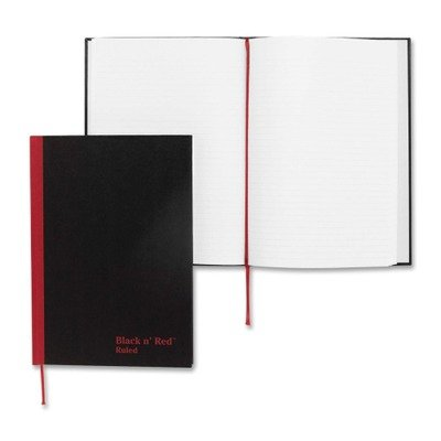 John Dickinson Black n Red Recycled Casebound Notebook - 96 Sheet - 24 lb - Ruled - A5 5.63quot; x 8.25quot; - 1 Each - White Paper by John Dickinson (Image #1)