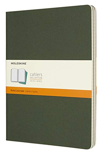 """Moleskine Cahier Journal, Soft Cover, XL (7.5"""" x 9.5"""") Ruled/Lined, Myrtle Green, 120 Pages (Set of 3)"""