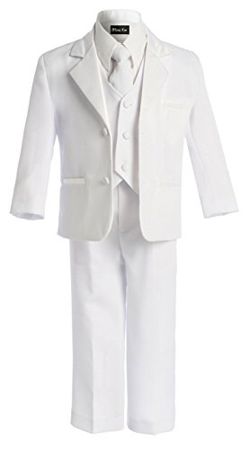 OLIVIA KOO Boy's Black Classic 2 Button Suit With Cloth Cover Buttons,White,12]()