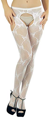 ToBeInStyle Women's Pantyhose With Lace Bow Suspenders - White - Regular Size