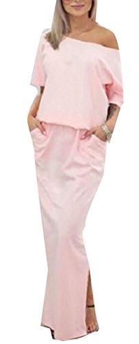 One Drawstring Womens Summer Shoulder Casual Loose Pink Maxi Jaycargogo Dress dwIqEvnI