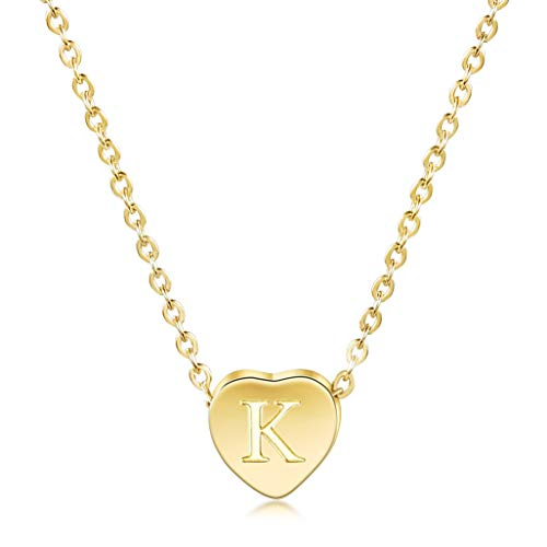 JINBAOYING Gold Initial Necklace-14K Gold Plated Children Necklace with Heart Charm Letter Necklace, Dainty Personalized Letter Heart Necklaces with Adjustable Chain Pendant Enhancers
