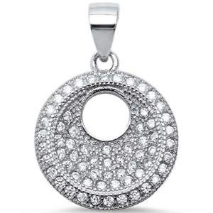 Modern Pave Round with CZ 925 Sterling Silver Pendant - Jewelry Accessories Key Chain Bracelet Necklace -