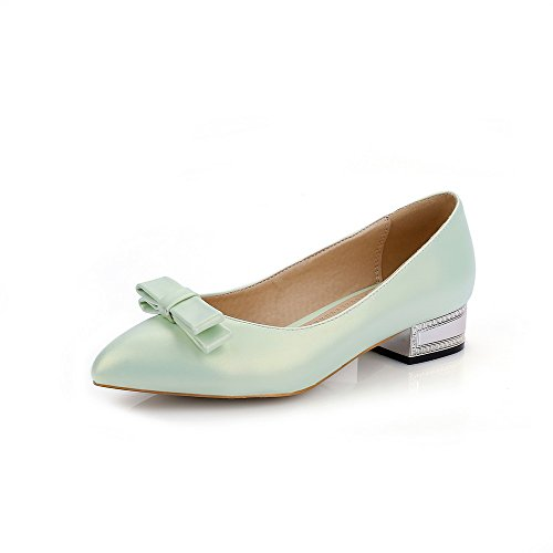 AllhqFashion Womens Pull On PU Pointed Closed Toe Low Heels Solid Pumps-Shoes Green eRclu5J