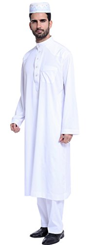 Ababalaya Men's Long Sleeve Mock Neck Solid Salwar Suits Dubai Robe Sets, White, L by Ababalaya (Image #2)