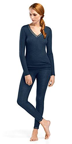 HANRO Women's Woolen Lace Long Sleeve Shirt 72387, Ocean, Large ()