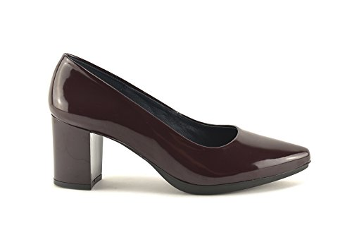 ConBuenPie by Chamby - New Collection - Zapato con tacón de piel Charol en Cereza y Burdeos Burdeos