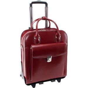 Detachable -Wheeled Women's Laptop Briefcase, Leather, Mid-Size, Red - LA Grange | McKlein - 96496