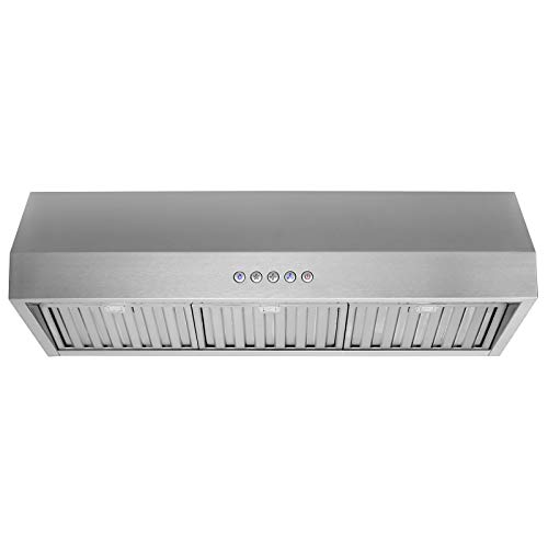 """- 36"""" Range Hood Under Cabinet Ducted Kitchen Cooking Fan Stainless Steel Filters and 3 Speed Settings"""