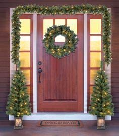 Holiday Time Christmas Decor Pre-Lit 5-Piece Entryway Set, Clear Lights (Pre Entry Trees Lit)