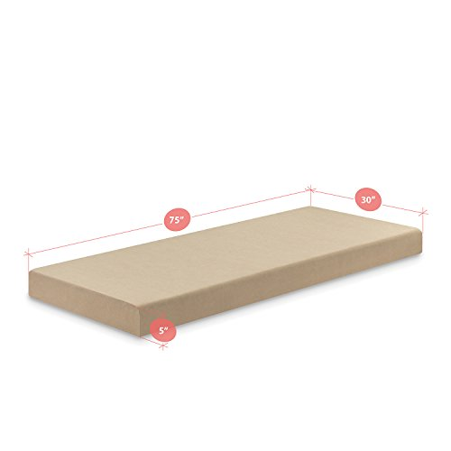 "Zinus Memory Foam 5 Inch Mattress, Narrow Twin/Cot Size/RV Bunk/Guest Bed Replacement/30 x 75"""