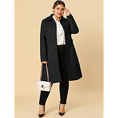 Agnes Orinda Women's Plus Size Single Breasted Belted Winter Long Coat at Women's Clothing store
