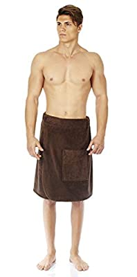 Arus Men's Organic Turkish Cotton Adjustable Closure Spa Shower and Bath Wrap