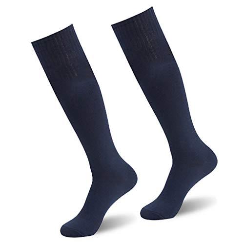(Soccer Socks,saillsen Unisex Breathable Knee High Long Tube Football Soccer Team Sports Socks, 2 Pairs, Navy Blue)